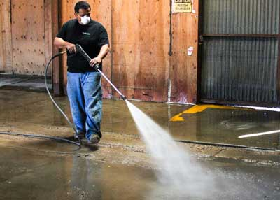 Pressure Washing Concrete Floor